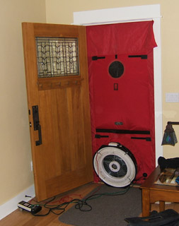 Blower Door Mounted in Place of Front Door